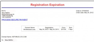 Betrugs-Versuch: Registration Expiration