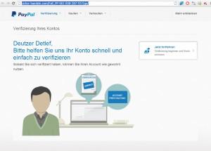 Phishing-Seite VORSICHT